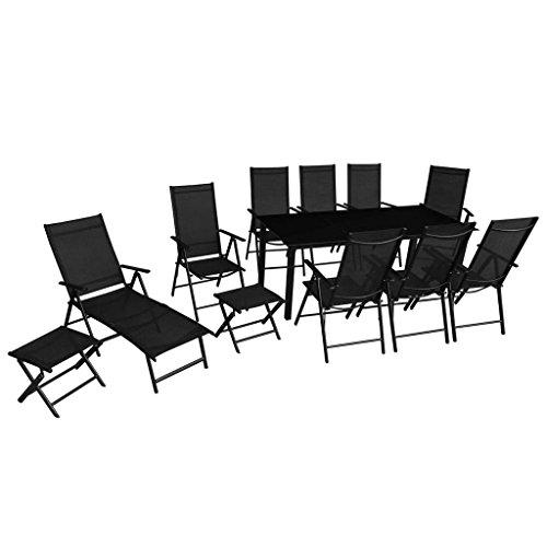 Festnight 12-Teiliges Klappbare Gartenmöbel-Set aus Aluminium Gartengarnitur inkl. 1 Gartentisch, 1...