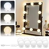 Lumière de Miroir LED - Kit de Lumière LED 10 Ampoules Luminosité Réglable 3 Couleurs 10 Niveaux de Luminosité avec Adaptateur Rose (Blanc)