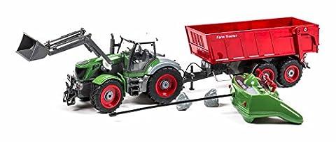 Ferngesteuerter Traktor mit 8-Kanal Fernbedienung mit Lenkrad, Schaufel und Anhänger mit Kippfunktion, Länge ca. 57 cm, Maßstab 1:28