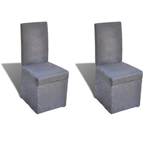 kuaetily Esszimmerstühle 2 STK. Stoff Dunkelgrau