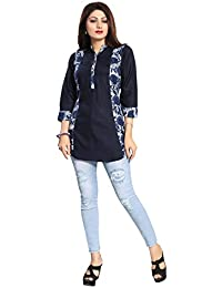 Color Petal Printed Designer Rayon Cotton Short Kurti Tunic Top For Women