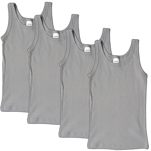 HERMKO 2800 4er Pack Jungen Unterhemd (Weitere Farben) Bio-Baumwolle, Größe:164, Farbe:grau