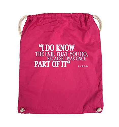Comedy Bags - I DO KNOW THE EVIL - TABOO - Turnbeutel - 37x46cm - Farbe: Schwarz / Silber Pink / Weiss