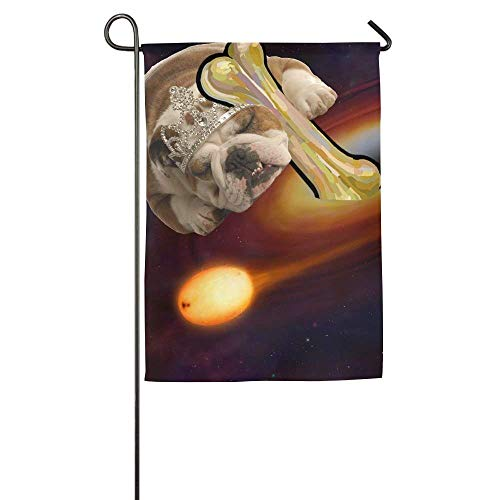 beautiful& Galactic Princess Dog Garden Flag Indoor & Outdoor Decorative Flags for Parade Sports Game Family Party Wall Banner 12.5x18 inches