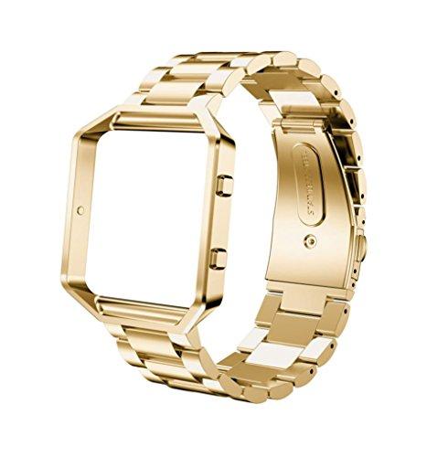 Pour Fitbit Blaze Smart Watch Ouneed® Bracelet Acier de Remplacement + Cadre (Or)