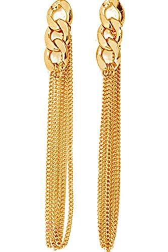 Pendientes - SODIAL(R)Retro Mujer Pendientes de cadena larga Clavo de oreja de borla dorado de vestido de lujo