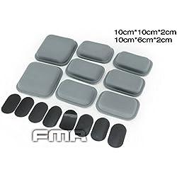 Militaire Airsoft 8 Pcs CP Casque Pads de Rembourrage Cellule Air Cadre Confort de Protection Coussin Souvenir Mousse Fit kit Gris avec Velcro Pad, ne pas inclure le Casque