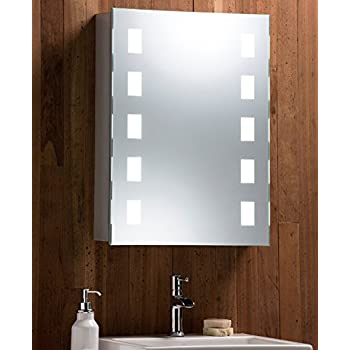 Led illuminated bathroom mirror cabinet with demister heat pad shaver and sensor switch with for Heated bathroom mirror cabinet