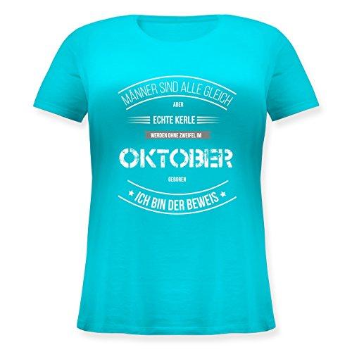 Geburtstag - Echte Kerle Werden IM Oktober Geboren - Lockeres Damen-Shirt in Großen Größen mit Rundhalsausschnitt Türkis