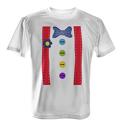 Clown Kostüm - Herren T-Shirt von Fashionalarm | Spaß & Fun Shirt | Mit Hosenträgern & Fliege | Verkleidung Fasching Karneval Trick Or Treat Süßes Saures Horror Oktober Halloween, Farbe:weiß;Größe:M (T-shirt Weiß Halloween-kostüm)