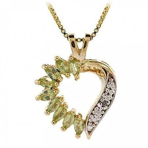 Exquisiter Herz Ketten-Anhänger mit Peridot und Diamant Akzenten, 14 Karat Gold Vermeil
