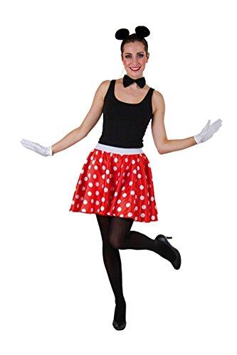 Karnevalkostüm Vielzweckrock, rot mit weißen Punkten (42/44)