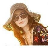 HugeStore - Elegante cappello parasole di paglia, da donna, a tesa larga, flessibile e pieghevole, adatto per l'estate e la spiaggia Brown