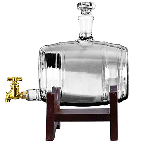 Barrel Whiskey Decanter - 1000ml Liquor Dispenser - Bleifreies Borosilikatglas für Likör Scotch Vodka oder Wein