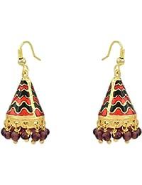 High Trendz Traditional Gold Plated Meenakari Jhumki / Jhumka Earrings For Women And Girls