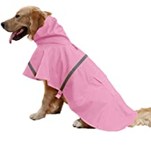 Kismaple Mascota Perro Impermeables Chubasqueros para pequeña Medianas Grandes Perros,Impermeable Chanqueta con Capucha -Lluvia Impermeable (Rosado, XS(Chest:33-25cm,Neck:21-25cm))