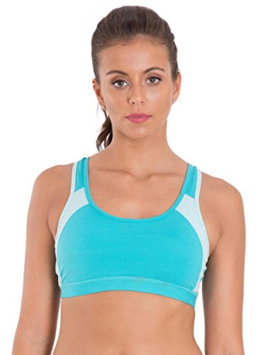 Jockey Women's Cotton Padded Active Bra (1380-0105-JT-MM Blue Medium)