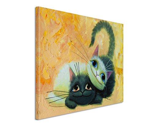 XXL Fotoleinwand 120x80cm Gemälde von zwei süßen Katzen auf Leinwand exklusives Wandbild moderne Fotografie für ihre Wand in vielen Größen