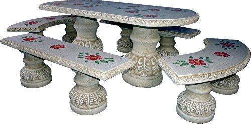 DEGARDEN Längliche-Set Tisch Esszimmer und Banken für Garten oder Außen-Stein poliert