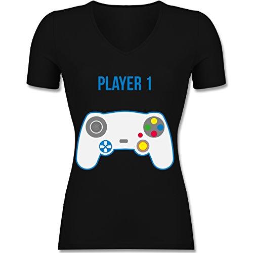 Shirtracer Partner-Look Familie Mama - Player 1 - Tailliertes T-Shirt mit V-Ausschnitt für Frauen Schwarz