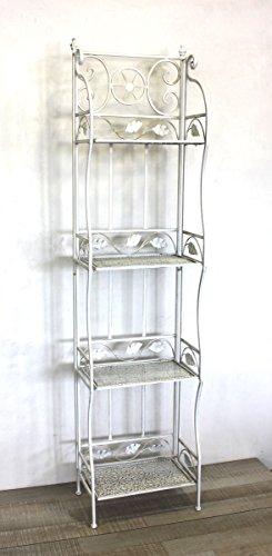 Keyhome scaffale in Ferro in Stile Vintage Shabby Chic - scaffale a Muro in Ferro battuto Bianco Etagere a 4 mensole Bagno Cucina Porta Piante - Altezza cm 165