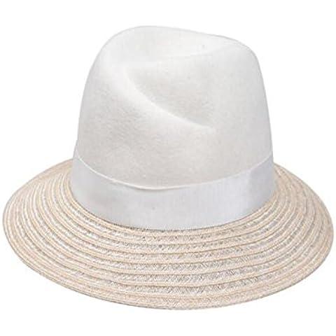 WE&ZHE Blanco de lana sombrero elegante Retro ajustable moda femenina paja hechos a mano amplia ala otoño e invierno
