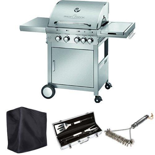 Profi Cook PC-GG 1059 Gasgrill 4+1 Brenner + Ultranatura Barbecue Grill Hülle Chateau + Bruzzzler Edelstahl Grillbesteck-Set 3-teilig im Koffer + Bruzzzler Grillbürste mit Edelstahlborsten 3-seitig