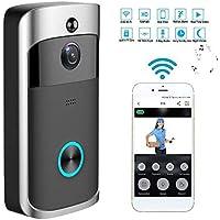 Video Timbre Wifi Videoportero Inalambrico Video Doorbell Cámaras 720P HD con Audio Bidireccional, Detección de Movimiento, IR Visión Nocturna Control de APP para iOS Android iPad (Negro)