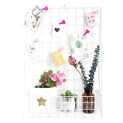 ANZOME Gitter Pinnwand, 2 Stüc DIY Metall Foto Wand Gitter Dekoration und Schreibtisch Organisation für memo Artwork - Hängenimhaus - Küche - Büro - Weiß - 65 x 45 cm