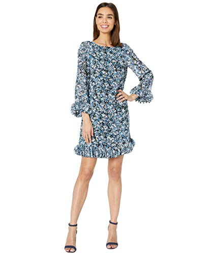 Tahari ASL Women's Long Sleeve Disc Hem Detail Shift Dress Casual