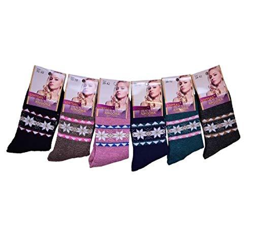 Damen Socken Angora Wollsocken Frauen Thermosocken 6 Paar 35-38 / mehrfarbig 4 - Angora Socken