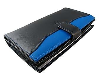 Compagnon Cuir femme - Portefeuille - Porte Chéquier - Porte Carte - Porte Monnaie - Couleur Noir/bleu - 19 x 11,5 x 3 cm