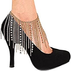 FemNmas Golden Multi Chain Rhinestone Heel Anklet (SINGLE)