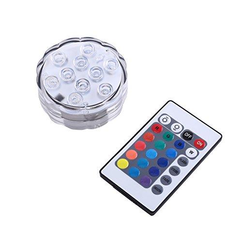 eecoo LED Unterwasserlicht mit Fernbedienung, Wasserdichte LED Unterwasser Licht RGB Multi Farbwechsel Teichbeleuchtung für Vasen, Brunnen, Weihnachten Dekoration