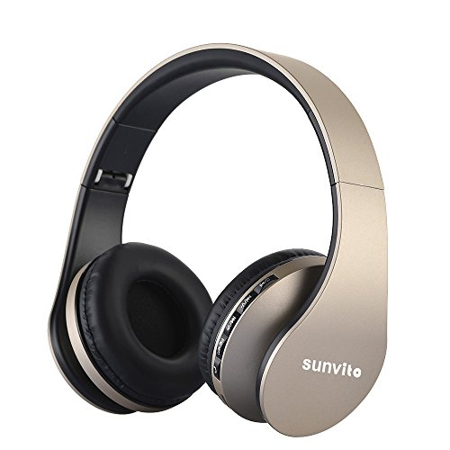 Sunvito 4 in 1 Cuffia Bluetooth 3.0 Pieghevole Wireless Auricolari con Mic,Lettore MP3, Radio FM, Auricolare Collegato, Cuffie Over Ear Stereo per iPhone, Samsung,iPad,Android,Portatili,PC - Oro