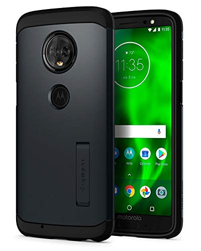 Spigen Coque Moto G6 [Tough Armor] Resistant, Antichoc, Double Protection, Air Cushion Coque Etui Housse Compatible avec Motorola G6 - Metal Slate