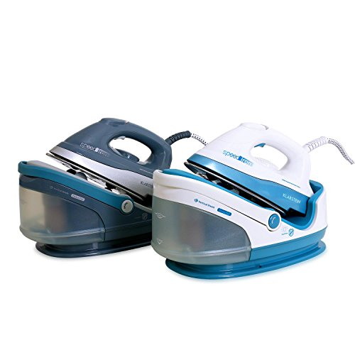 Klarstein Speed Iron Bügelstation 2400W 1,7L Dampfbügelstation (1,7 Liter, Vertikaldampf, 3,5bar – 90g/min Dampfdruck, Antikalkpatrone) weiß-blau - 7