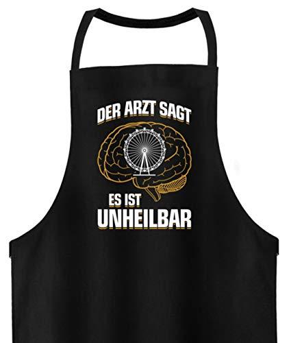 shirt-o-magic Oktoberfest: Es ist unheilbar - Hochwertige Grillschürze -Einheitsgröße-Schwarz (Einheit Kostüm Arzt)