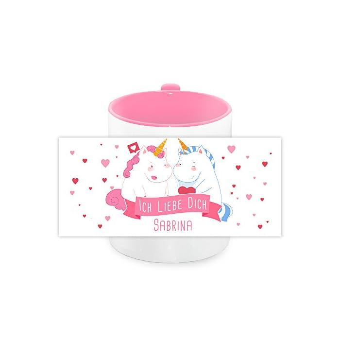 Einhorn-Tasse mit Namen Sabrina und schönem Unicorn-Motiv mit Herzen und Text - Ich liebe dich - für Verliebte zum…