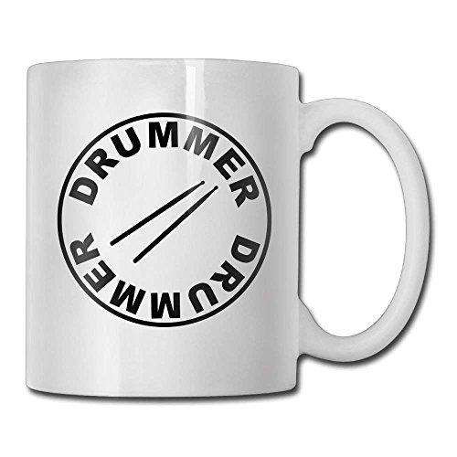 Nisdsgd Drumsticks Drummer Drum Coffee Mugs 11 Oz Birthday Gift Ceramic Tea Cup for Family and Friend 3.14W x 3.74H(8x9.5cm)