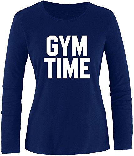 EZYshirt® Gym Time Damen Longsleeve Navy/Weiss