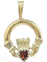 9ct Gold Garnet Set Claddagh Pendant On A Belcher Necklace