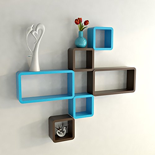 DecorNation Wall Shelf Set of Six Cube Rectangle Designer Wall Rack Shelves - Brown & Skyblue