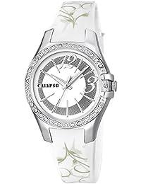Calypso Watches Armbanduhr Damenuhr Analoguhr 10 ATM mit Glitzersteinchen-Besatz K5624, Farben:weiß/silber