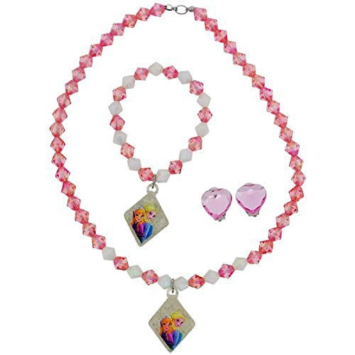 Disney Frozen Ragazze collana, braccialetto e orecchini a clip Set Regalo fj1583