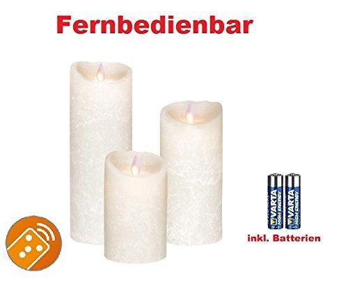 Juego de 3. Sompex Vela/velas cera real LED operable V14Blanco Frost (Frosted Blanco/Blanco Escarchado) 8x 12,5cm–8x 18cm–8x 23cm–Con 6Pilas. Bundle Incluye Pilas. (Juego de 3)