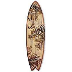 Vertikale Décoration Murale Planche de Surf Fish Feuilles de Palmier Effet Bois Brut 145 x 40 cm