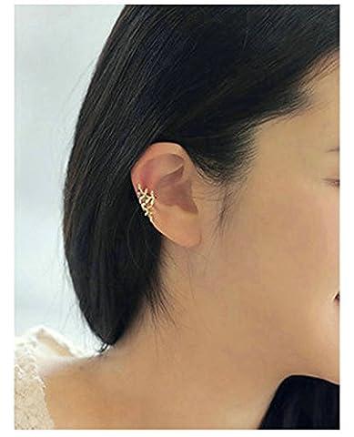 Damen Ohrclip Metalllegierung Ohrpiercing Blatt Ohrklamme für Frauen Silber - Einzeln AnaZoz Schmuck