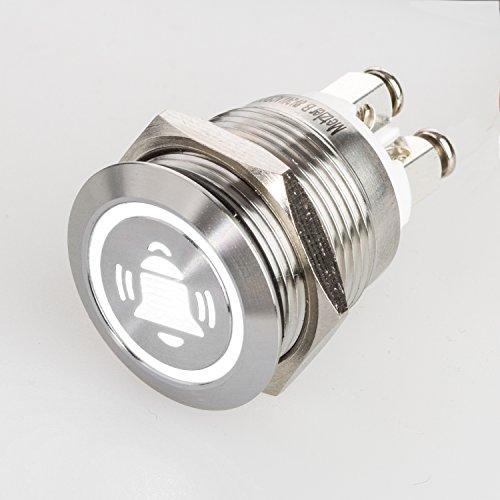 Metzler-Trade LED Drucktaster mit Glocken-Symbol, Einbau Ø 19 mm flacher Edelstahl-Taster mit farbig beleuchtetem Glocken-Symbol und Schraubkontakten, wasserdicht IP67, AC/DC (Weiß)