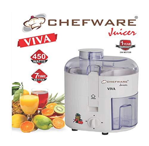 Chefware Appliances Viva Electric Juicer, 450watt 100% Pure Copper Motor, White